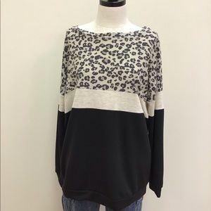 NWT Bibi Top Cheetah Beige Black Color Block